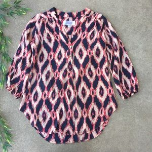 Amour Vert Stitch Fix Printed Silk Popover Blouse
